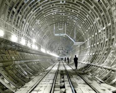 About 14,500 tons of structural steel were used to fabricate the basic lining of the Callahan Tunnel.